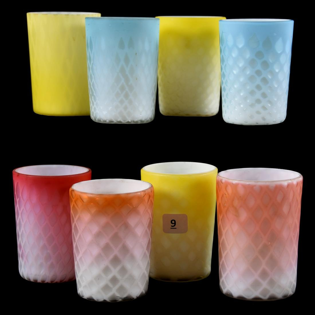 (8) Mother of Pearl Satin Art Glass Tumblers