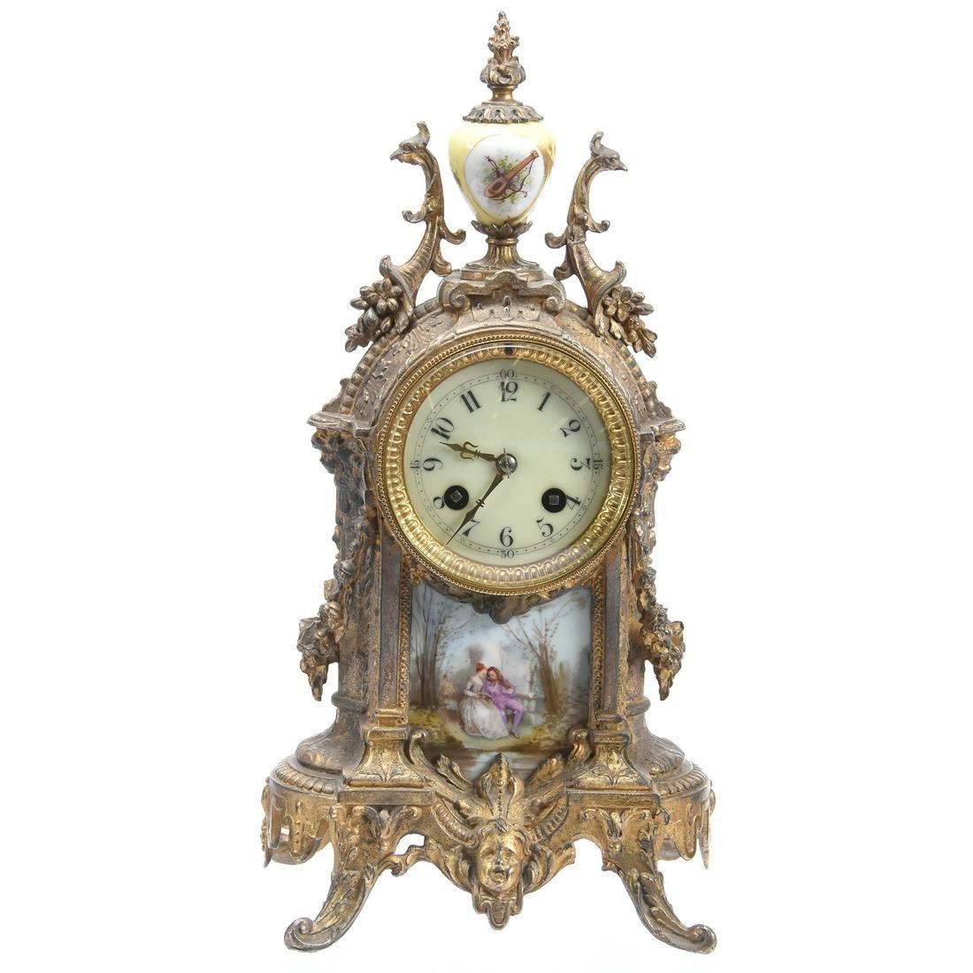 Ornate French Brass Mantel Clock