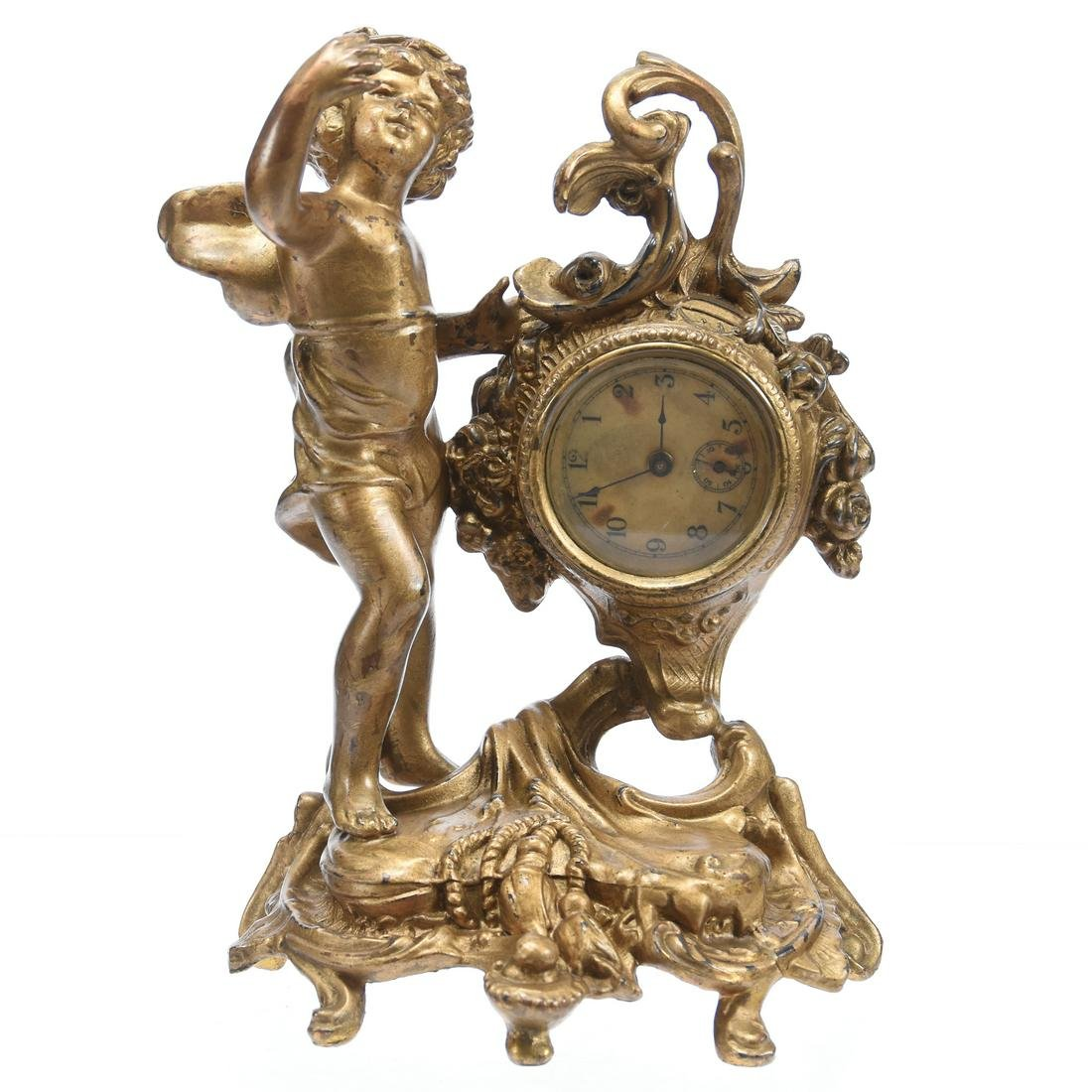 Figural Gilt Metal Desk Clock