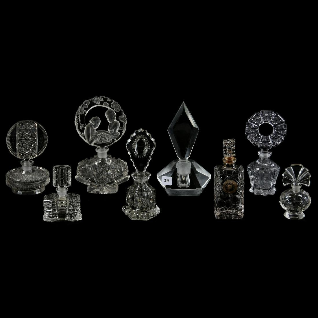 (8) Clear Art Glass Perfume Bottles