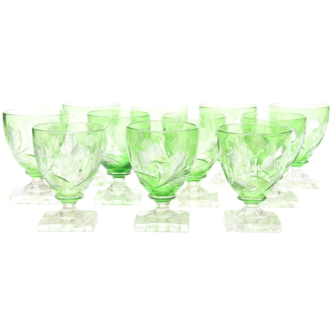 (11) Steuben #6338 Green Cut to Clear Water Goblets