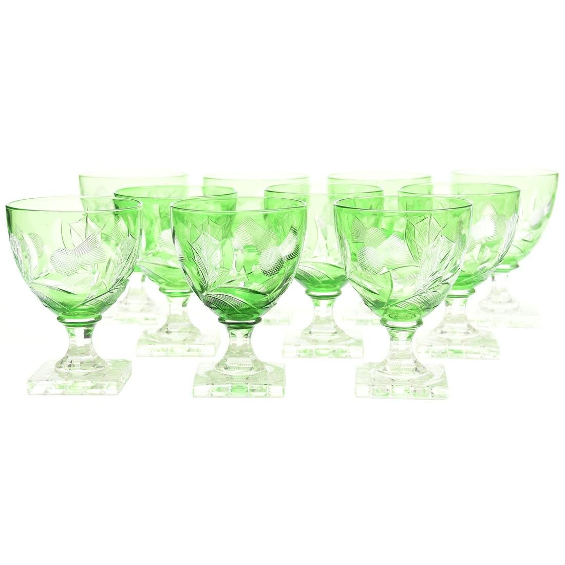(10) Steuben #6338 Green Cut to Clear Wines