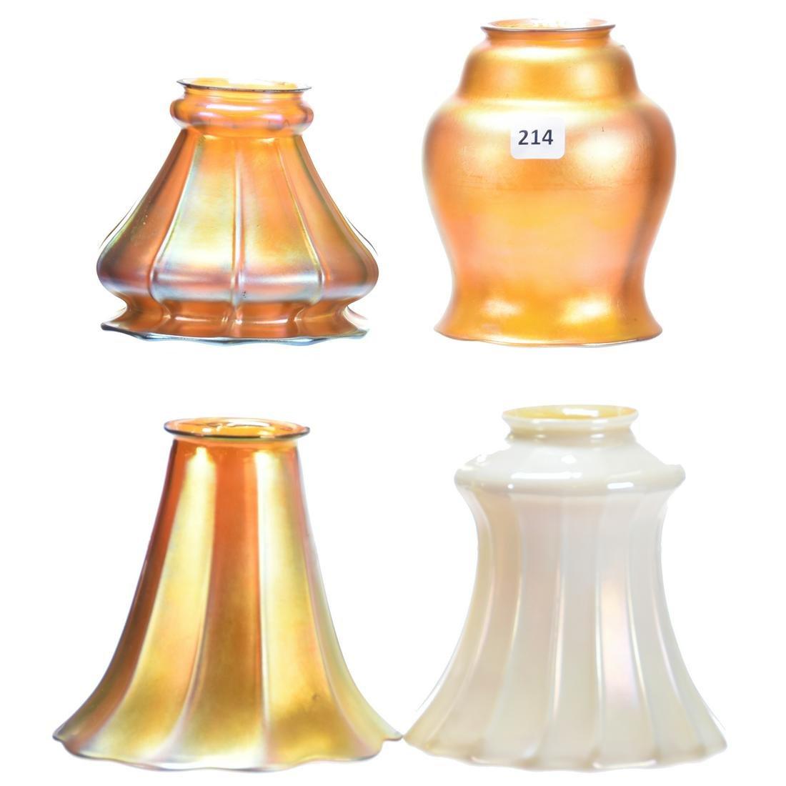 (4) Assorted Art Glass Light Shades