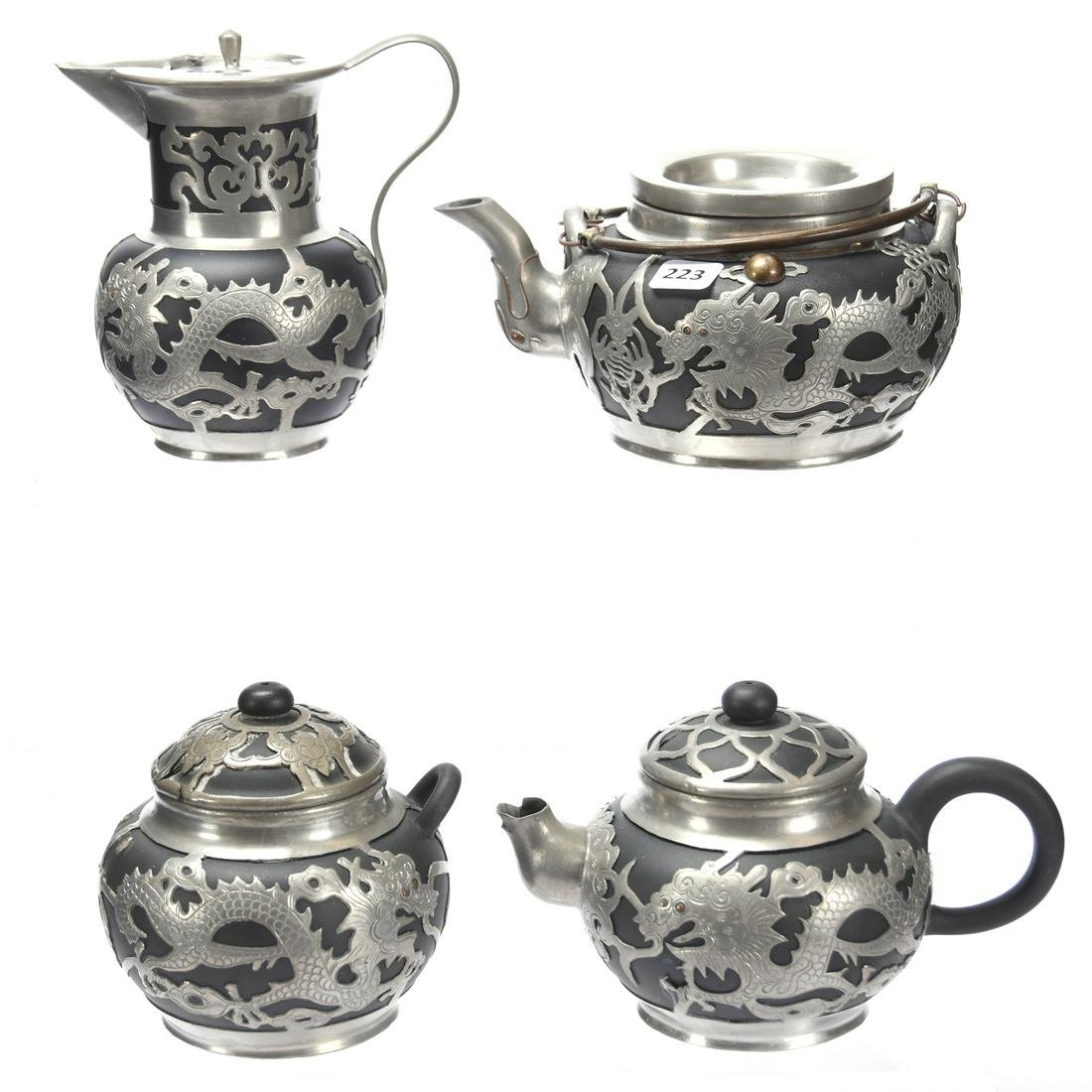 (4) Piece Set Ebony Oriental Set, Silver Overlay