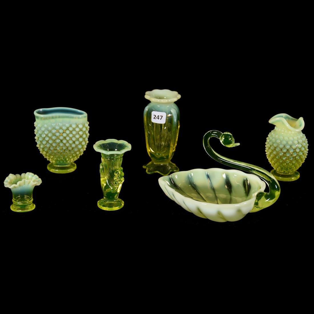 (6) Vaseline Opalescent Art Glass Items