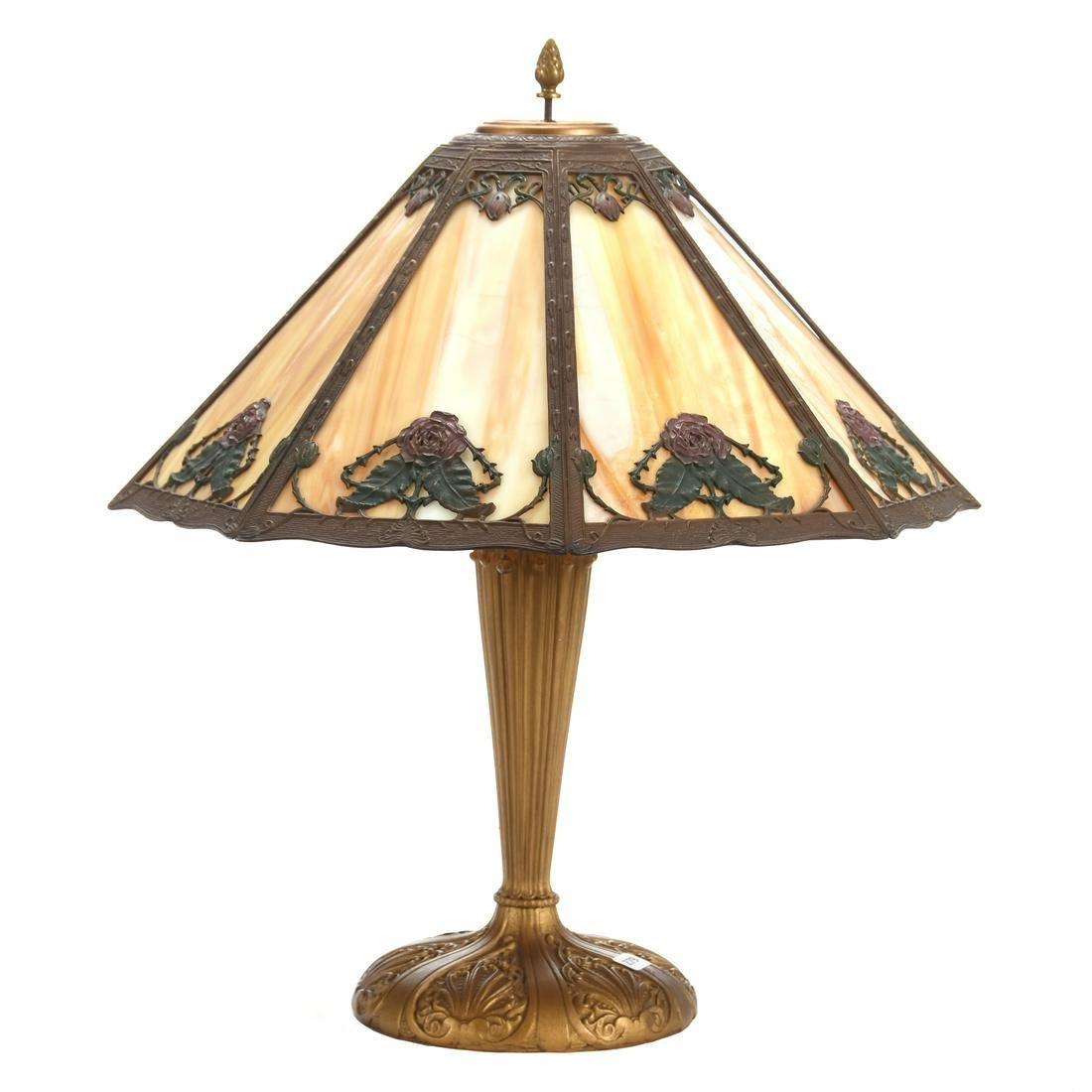 Table Lamp, Slag Glass Panel Shade