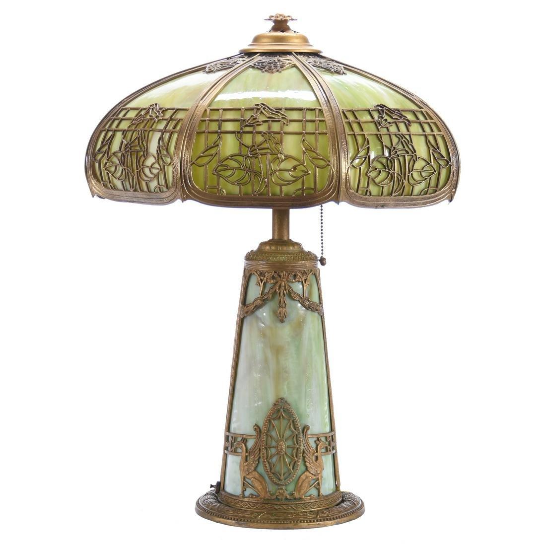 Bent Panel Green Slag Glass Table Lamp