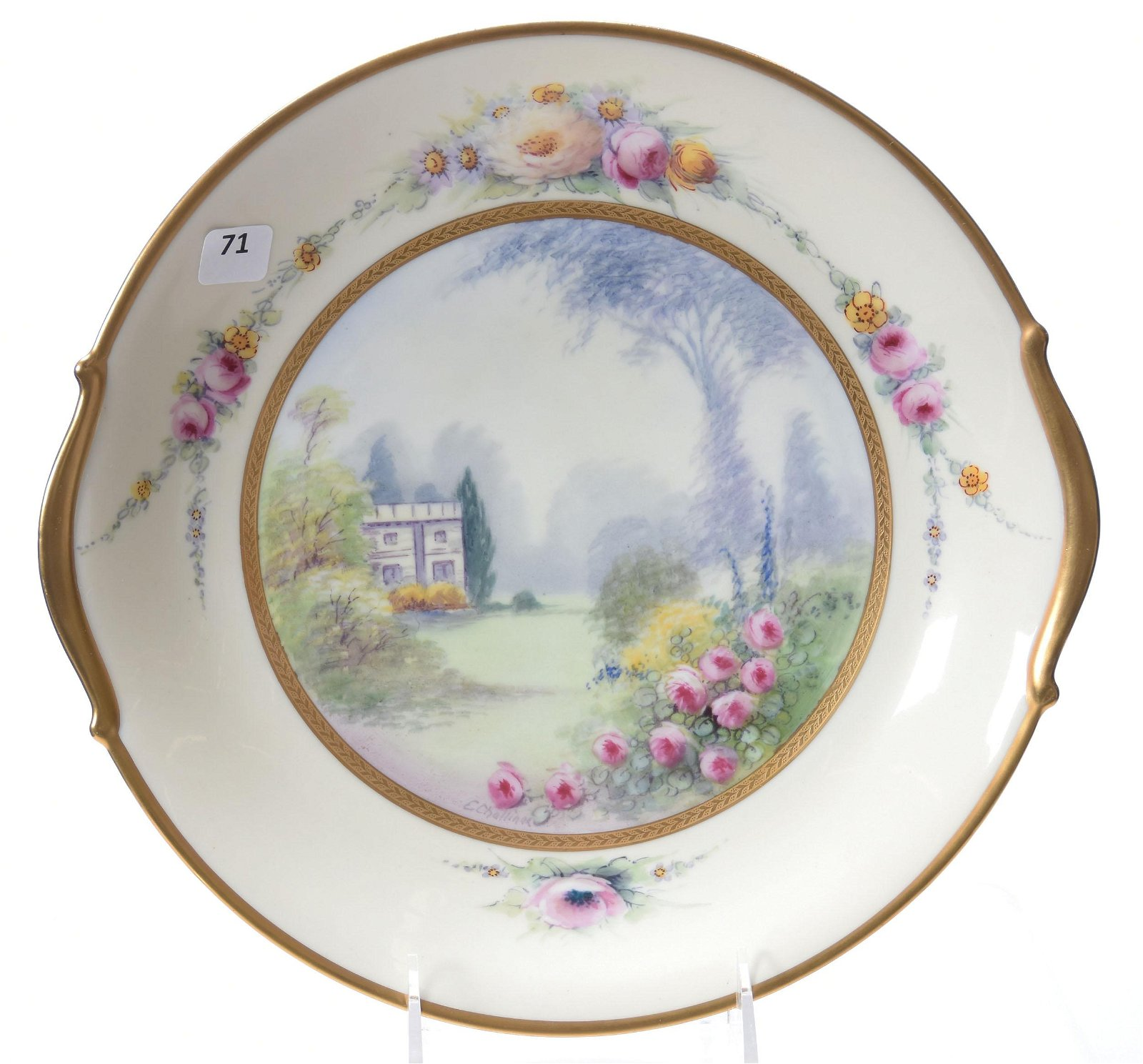 Marked Pickard Etched China Plate
