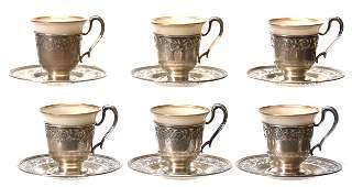 6 Lenox Demitasse Cups  Saucers