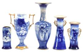 (5) Vases, Marked Royal Doulton, Blue Children