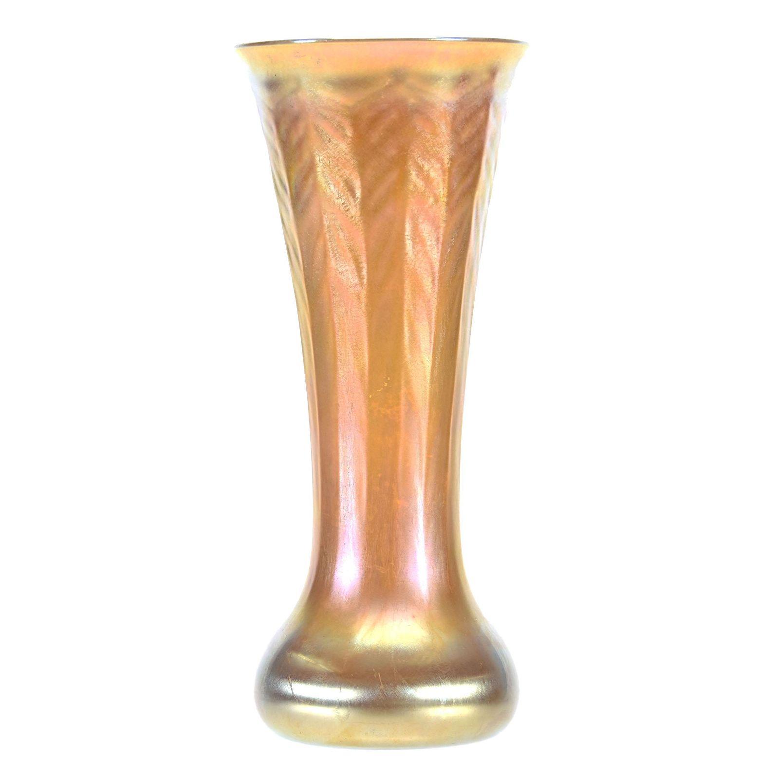 Signed L.C. Tiffany-Inc. Favrile, Art Glass Vase