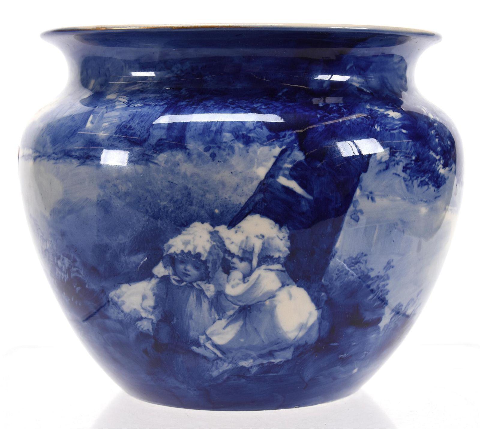 Jardiniere, Marked Royal Doulton, Blue Children
