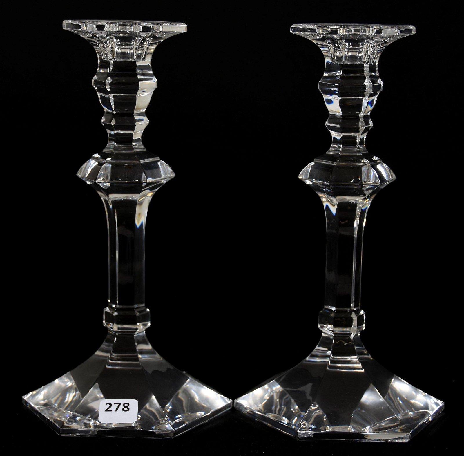 Pair Val St. Lambert Crystal Candlestick Holders