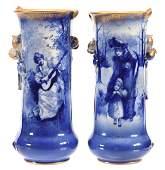 Pair Vases, Marked Royal Doulton, Blue Children