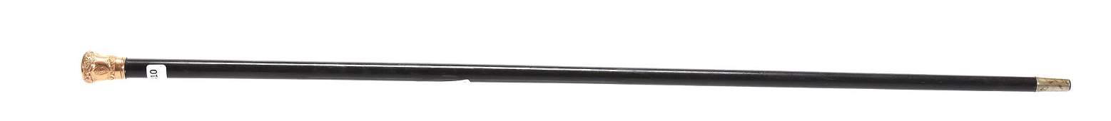 Vintage Ebony Walking Stick, Presentation Knob