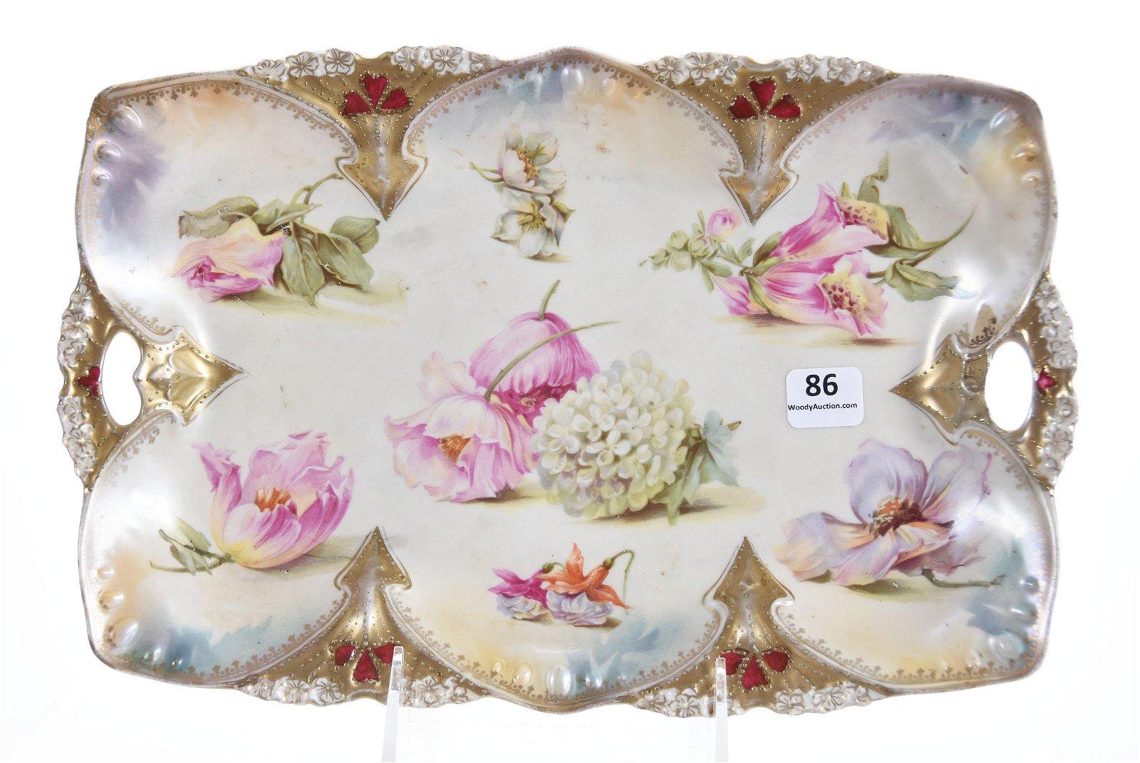 Dresser Tray, Mold 82, Marked RSP, Scattered Floral