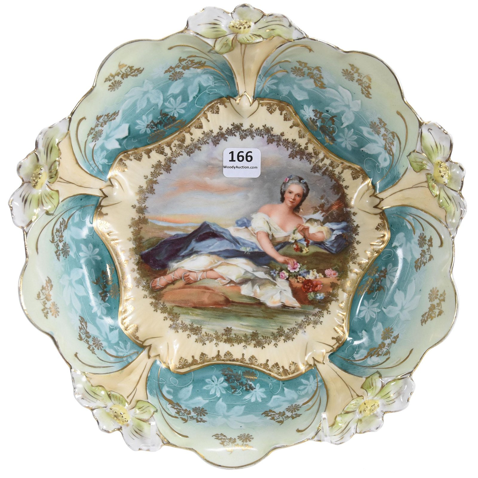 Bowl, Unmarked Prussia, Lily Mold, Flora Portrait