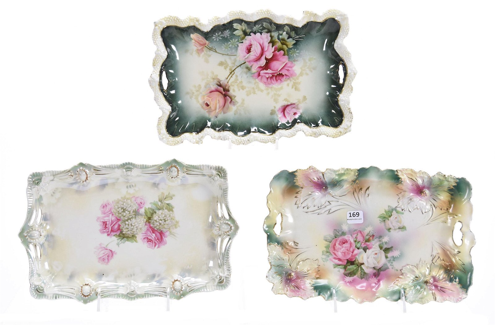 (3) Dresser Trays, Marked RSP, Floral Scene