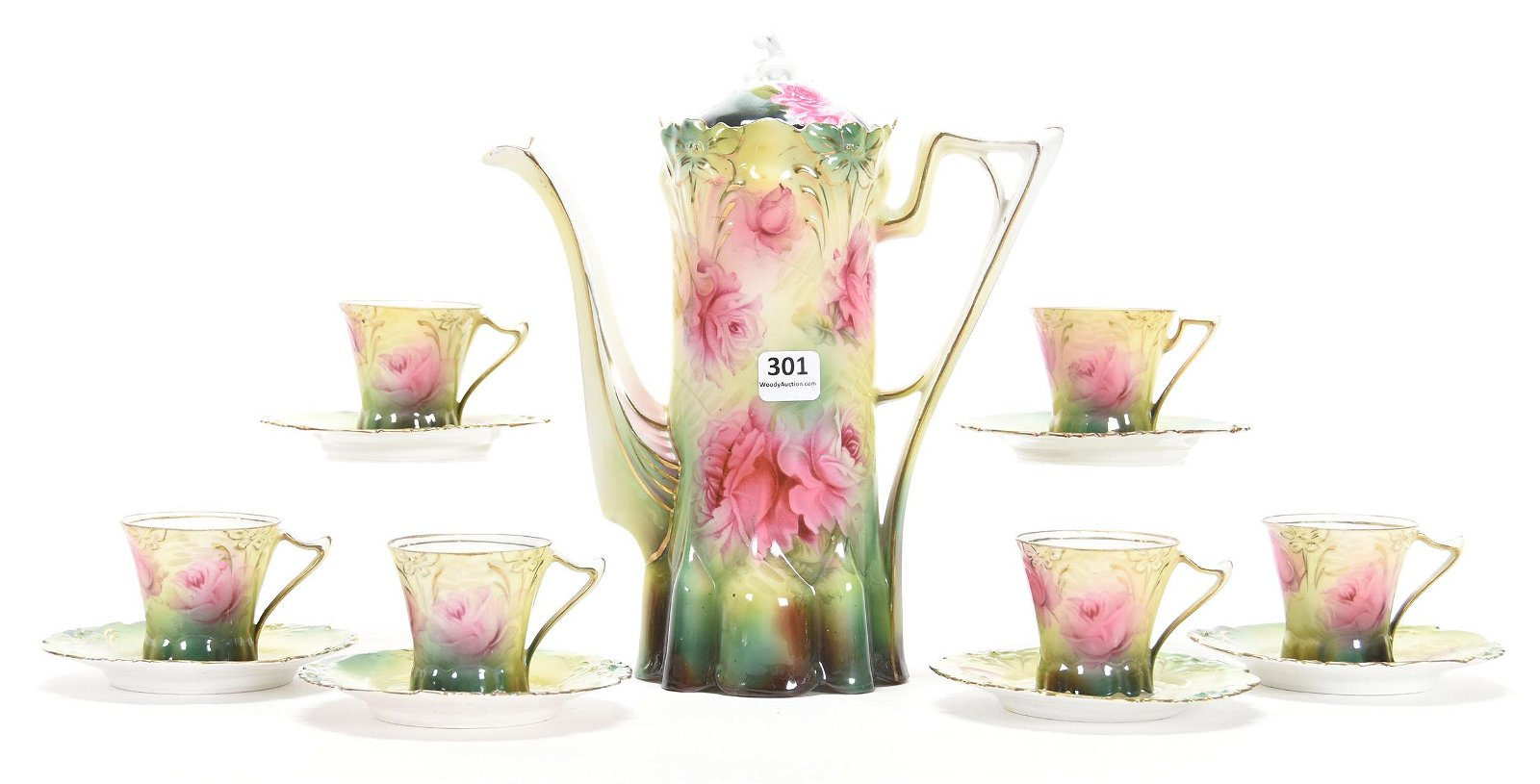 Demitasse Set, Unmarked Prussia, Lily Mold