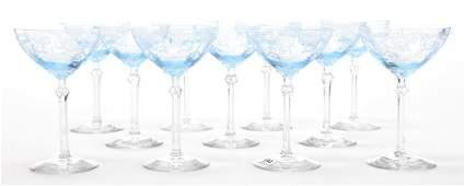 (11) Fostoria Versailles champagne stems, Azure blue