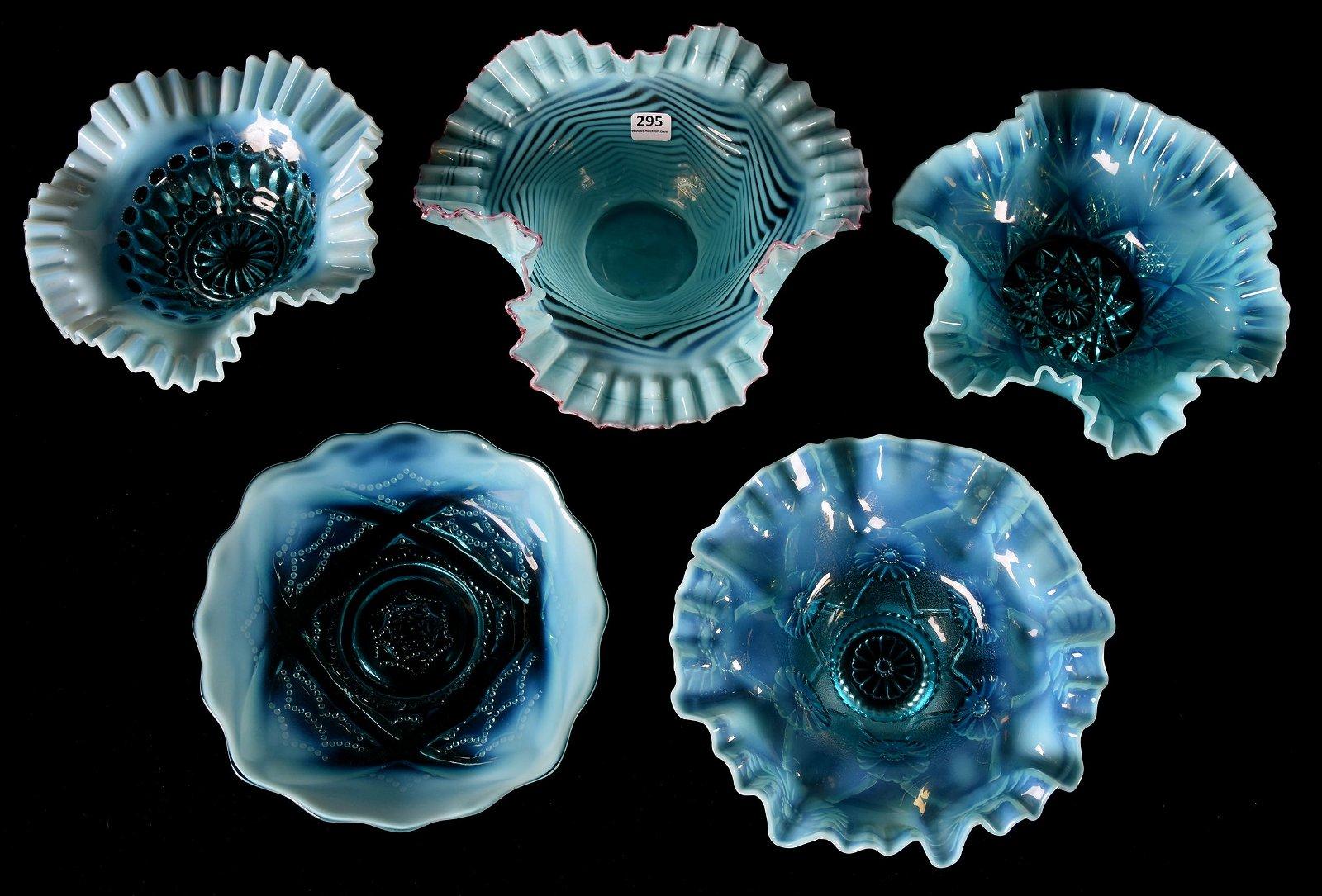 (5) Blue opalescent art glass bowls & plates