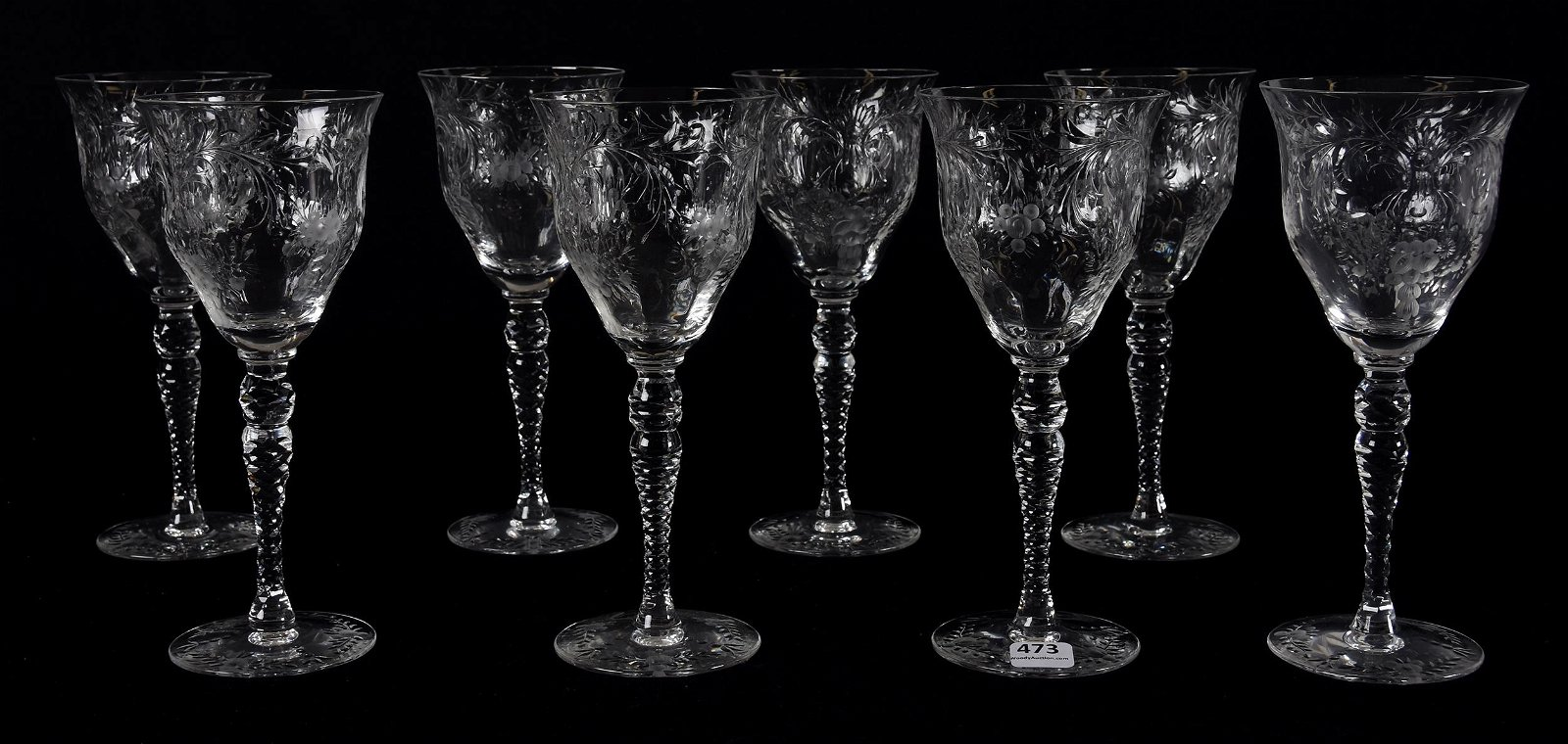 (8) Water goblets, signed Hawkes, Francis I pattern