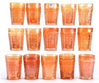 15 Carnival Glass Tumblers Butterfly  Berry