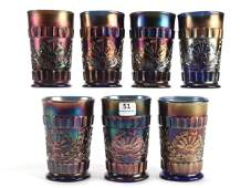 7 Carnival Glass Tumblers God and Home by Dugan