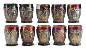 10 Carnival Glass Tumblers Beaded Shell Pattern