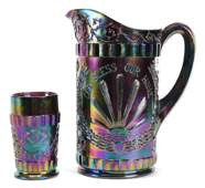 Contemporary Carnival Glass Water Pitcher  Tumbler