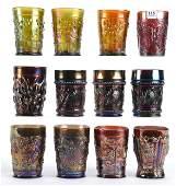 12 Carnival Glass Tumblers Various Examples