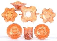 7 Carnival Glass Items Marigold