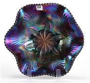 Carnival Glass Bowl Petal  Fan Pattern by Dugan