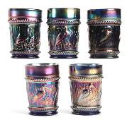 5 Carnival Glass Tumblers Stork  Rushes by Dugan