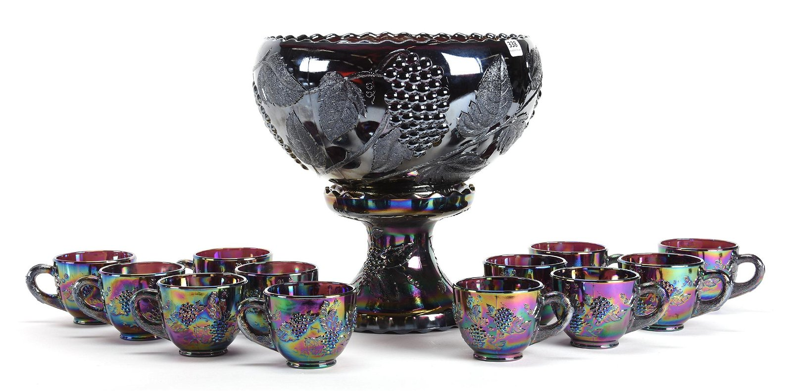 Carnival Glass Two Part Punch Bowl Set by L.E. Smith