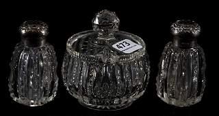 Pair Salt & Pepper Shakers with Mustard Jar, ABCG