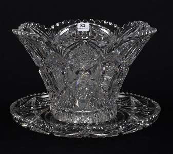 Two Piece Salad Set, American Brilliant Cut Glass