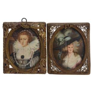 (2) Framed Hand-Painted Portraits