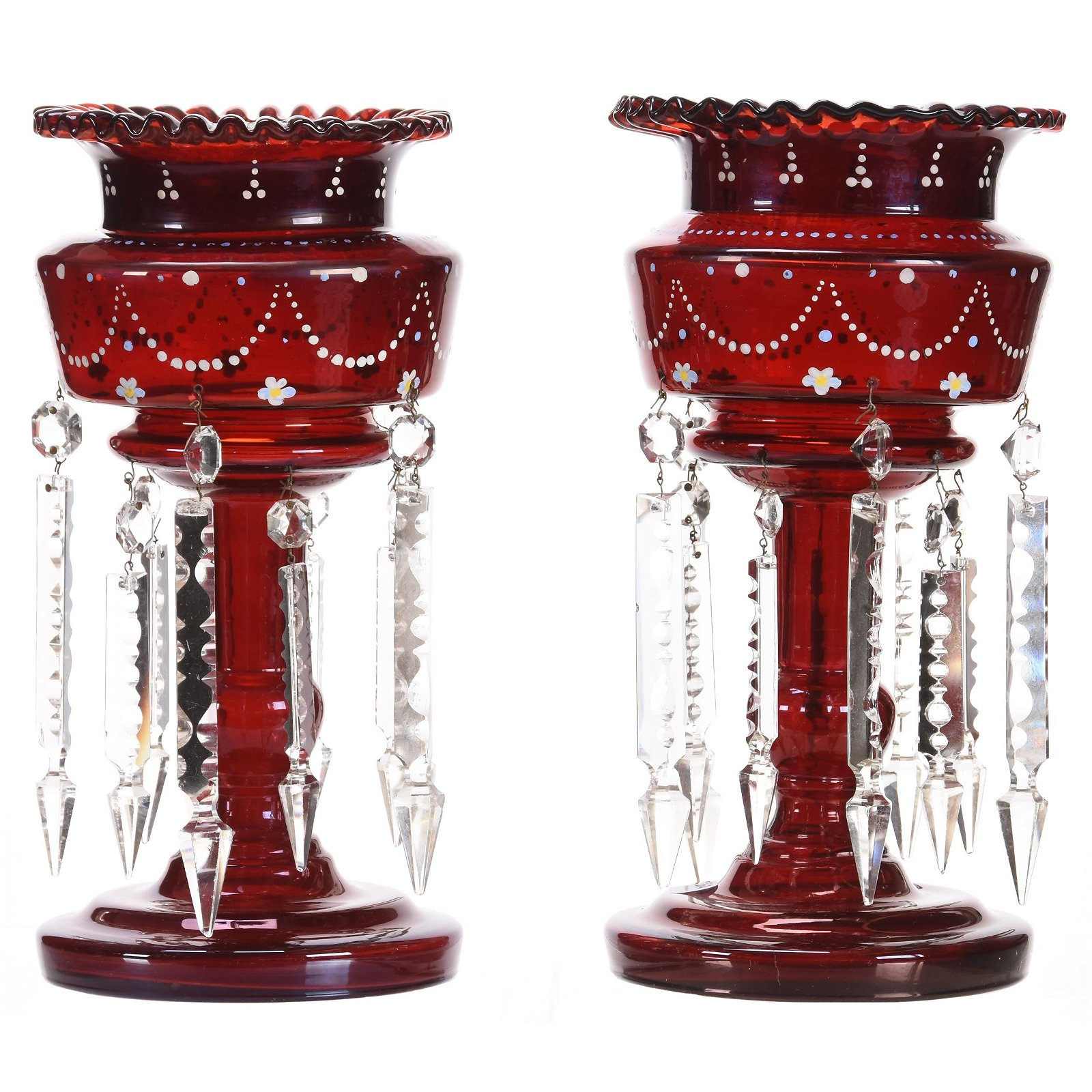 Pair Candle Lusters, Dark Cranberry Art Glass