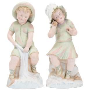 Pair German Bisque Figurines, Marked Germany