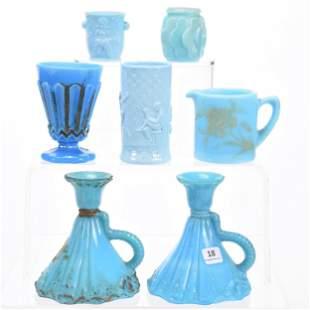 (7) Blue Milk Glass Items
