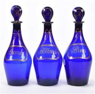 (3) Cobalt Blue Art Glass Liqueur Bottles
