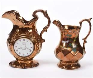 (2) Copper Lustre Pitchers