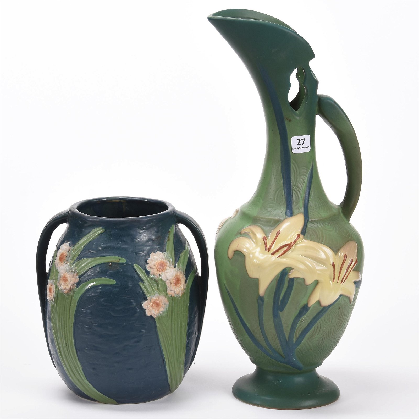 (2) Reproduction Roseville Pottery Items