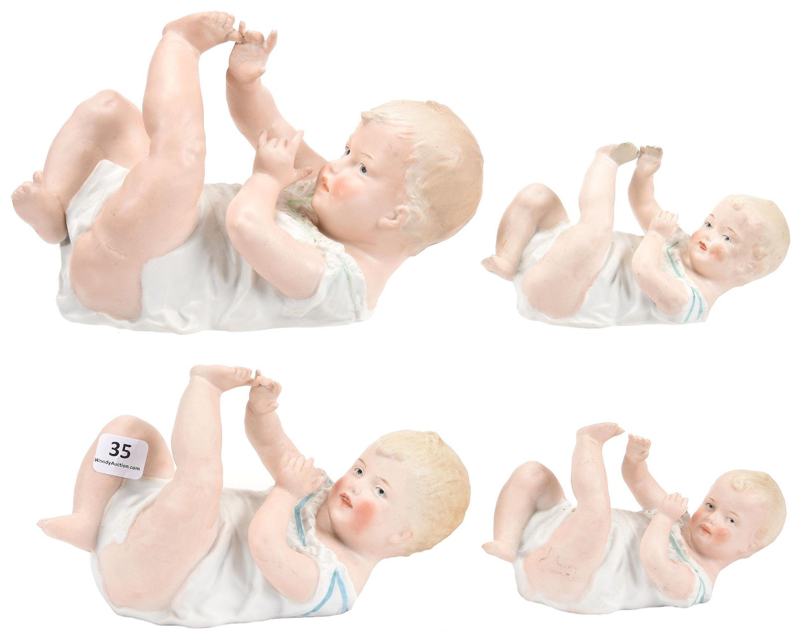 (4) Heubach Bisque Piano Babies, Marked