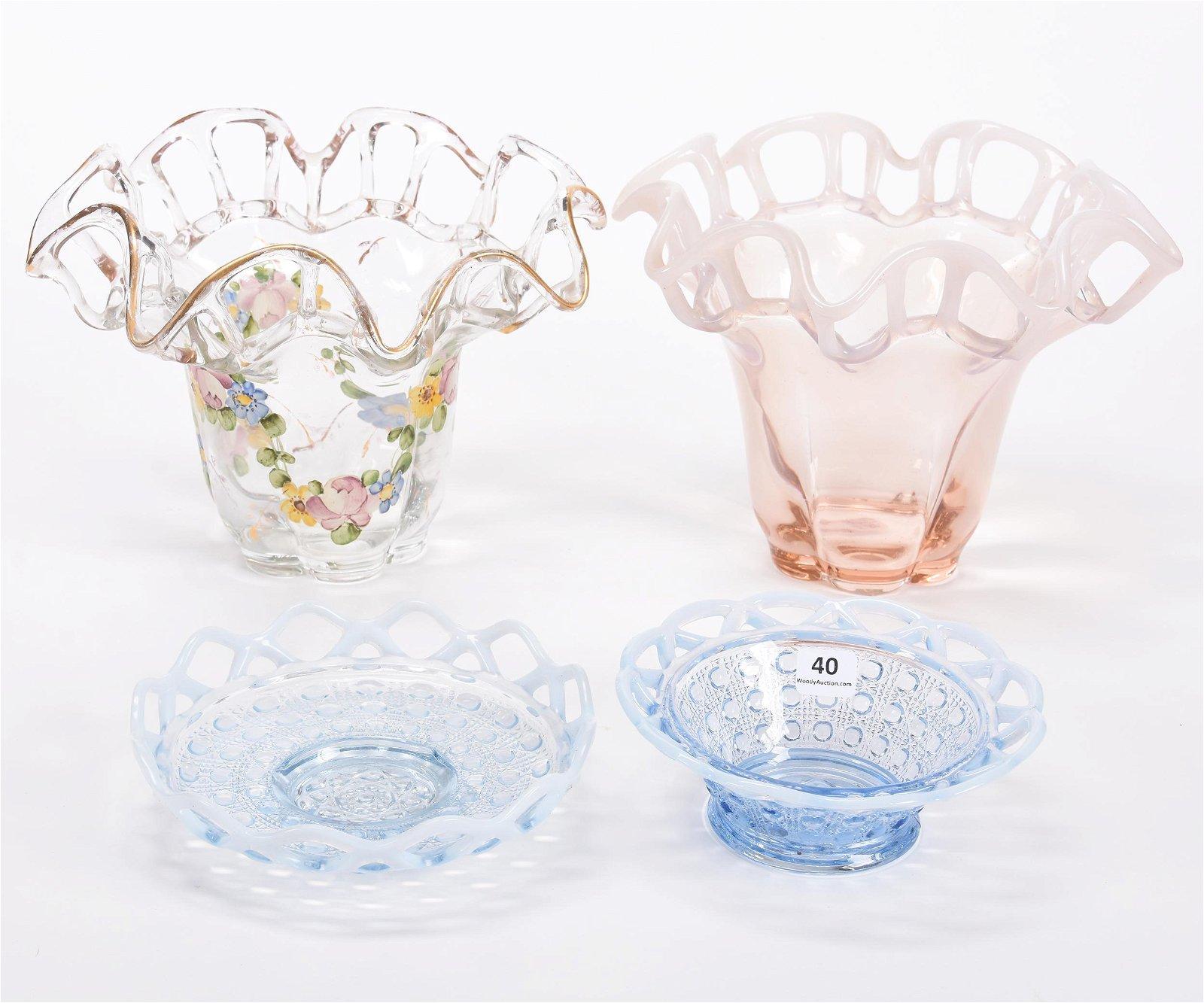(4) Art Glass Items, Lace Edge