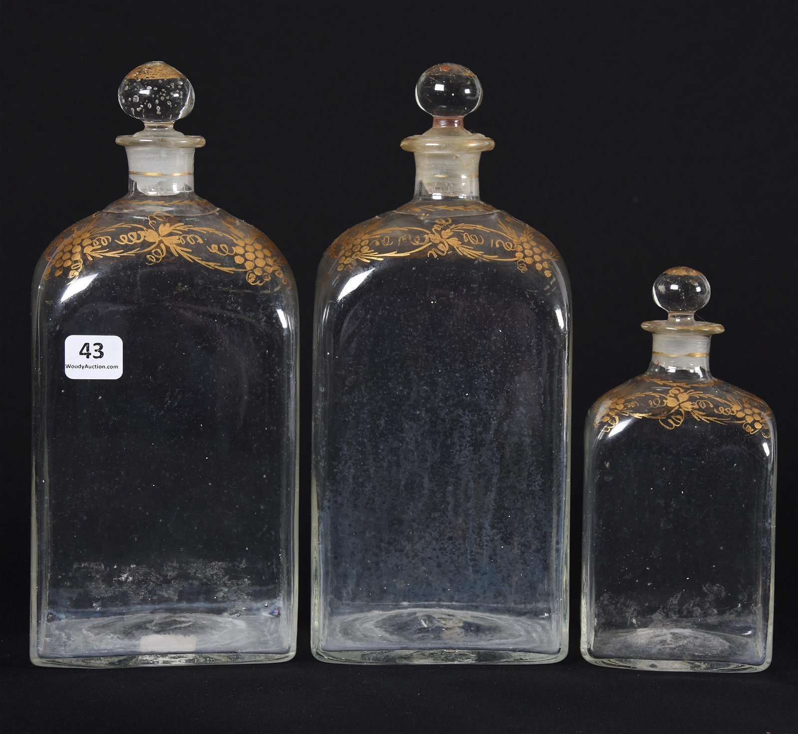 (3) Glass Apothecary Bottles