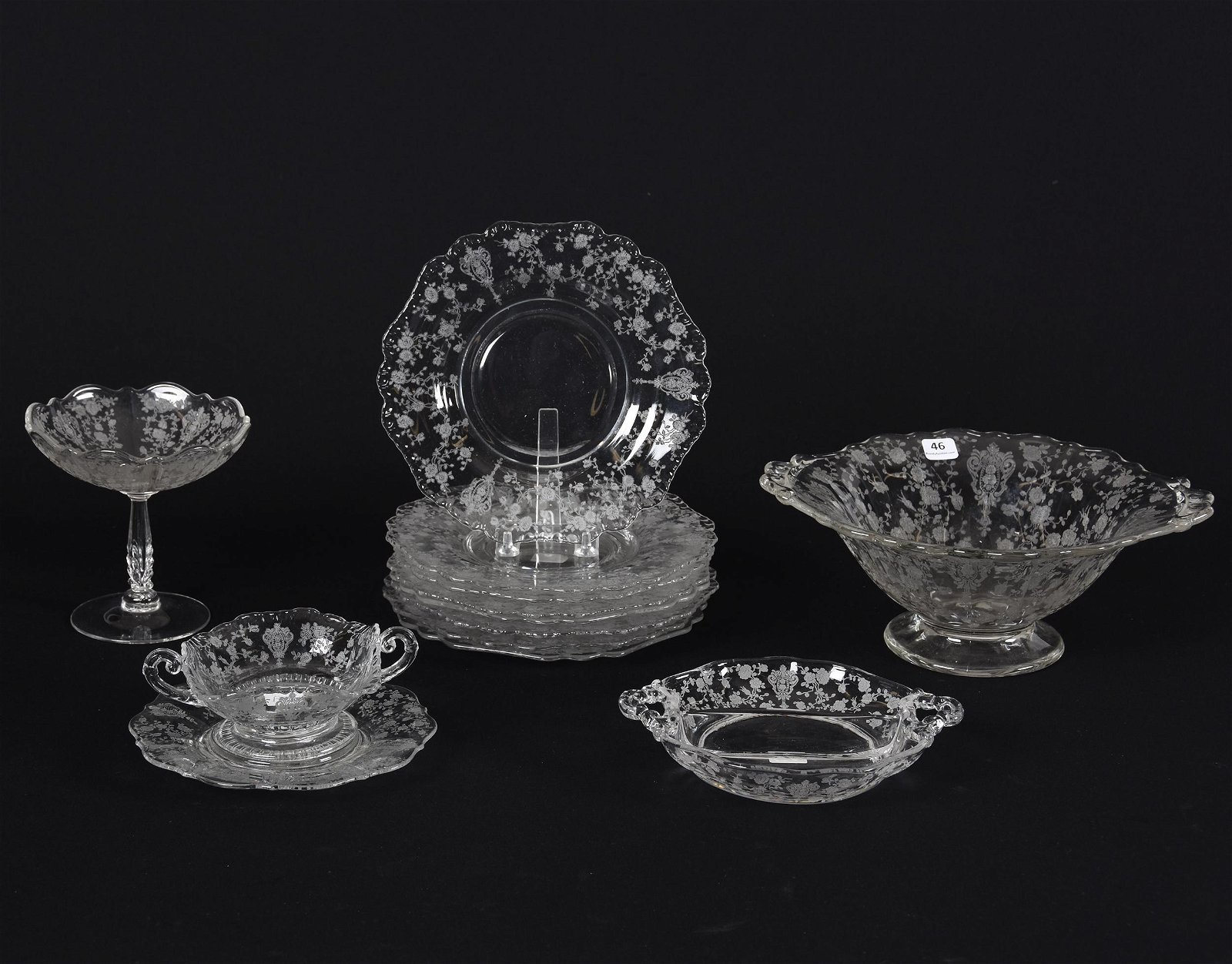 (13) Clear Cambridge Rosepoint Items