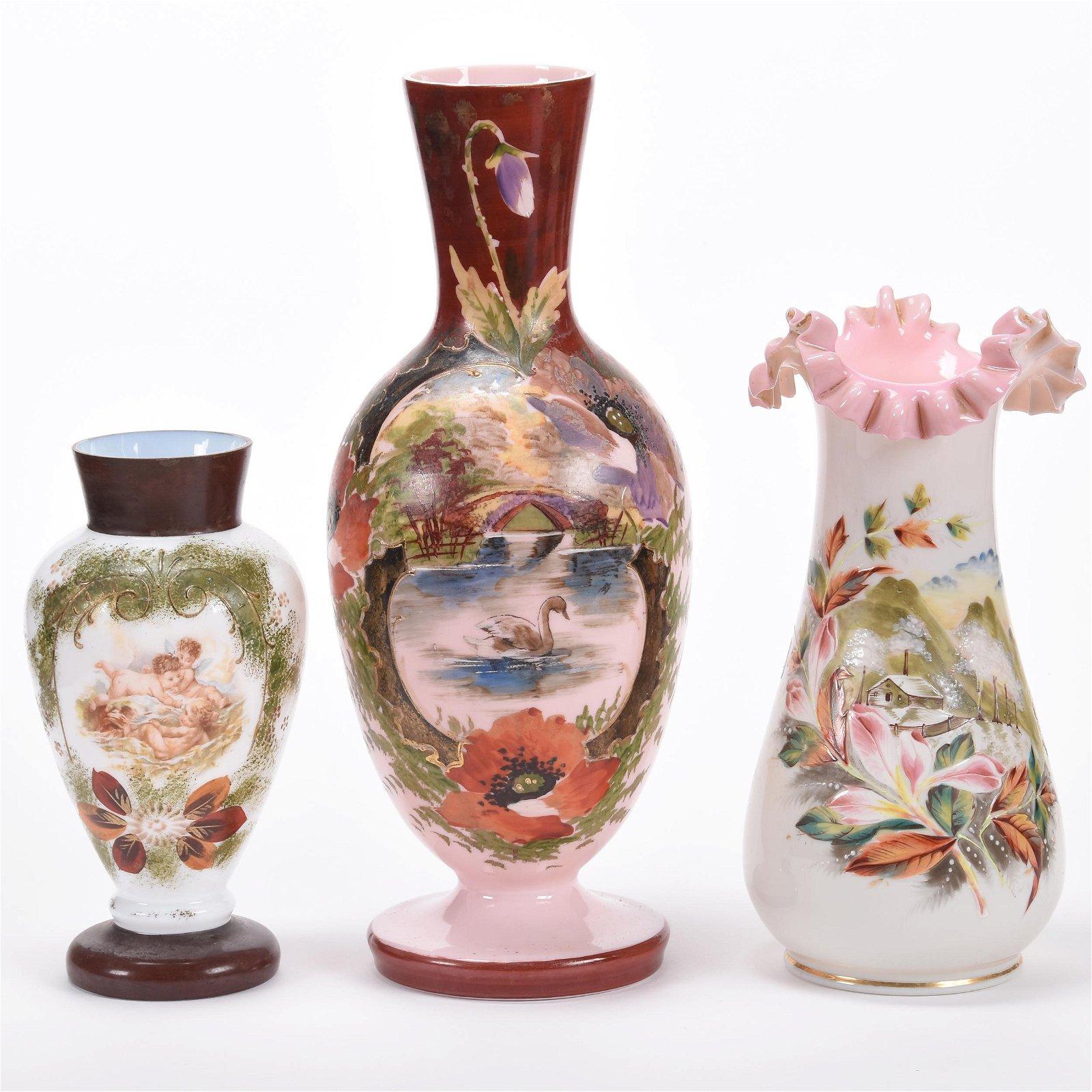 (3) Bristol Art Glass Vases