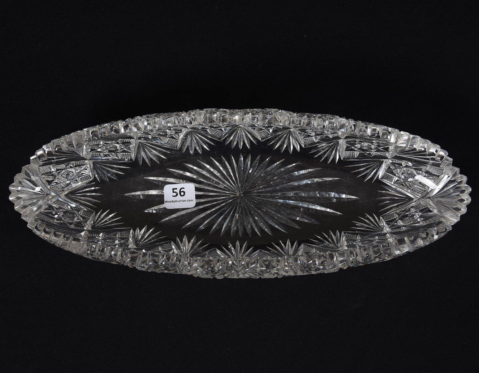 Folded Celery Tray, American Brilliant Cut Glass